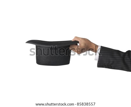 top hat with hand