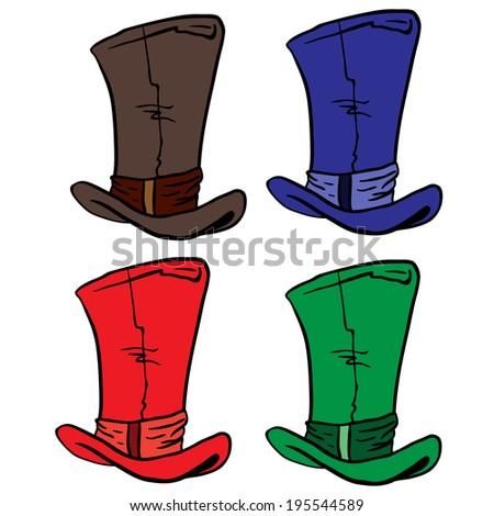 top hats cartoon illustration - stock photo
