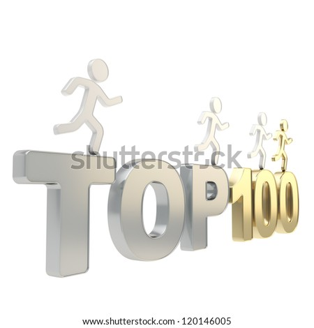 Top hundred leaders illustration: group of human symbolic figures running over chrome metal and golden Top-100 composition isolated on white background