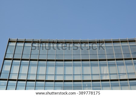 Top Left Corner of Modern Transparent Office Building, Blue Sky, Asia Pacific, Vietnam