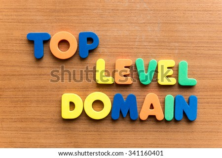 top level domain colorful word on the wooden background - stock photo