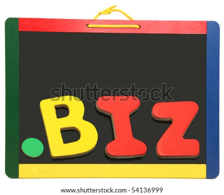 Top level domain Dot BIZ spelled out on chalkboard with wooden letters - stock photo