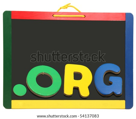 Top Level Domain Dot BIZ spelled out with wooden letters on chalkboard - stock photo