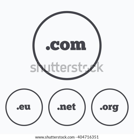 Top-level internet domain icons. Com, Eu, Net and Org symbols. Unique DNS names. Icons in circles. - stock photo