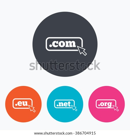 Top-level internet domain icons. Com, Eu, Net and Org symbols with cursor pointer. Unique DNS names. Circle flat buttons with icon. - stock photo