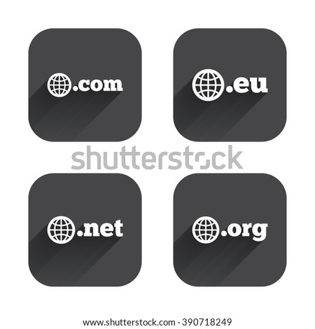 Top-level internet domain icons. Com, Eu, Net and Org symbols with globe. Unique DNS names. Square flat buttons with long shadow. - stock photo