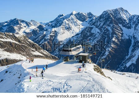 Top lift station in Riffelsee ski mountain resort, Pitztal valley, Austrian Alps - stock photo
