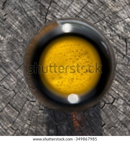 top look to the opened beer bottle - stock photo