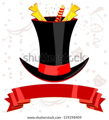 top magic hat and ribbon - stock photo