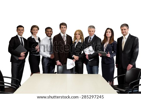 Top managers are on a white background. Team leaders. - stock photo