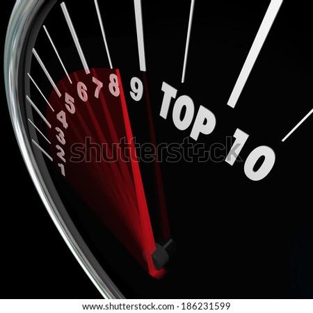 Top 10 Numbers Speedometer Scores Ten Best Results - stock photo