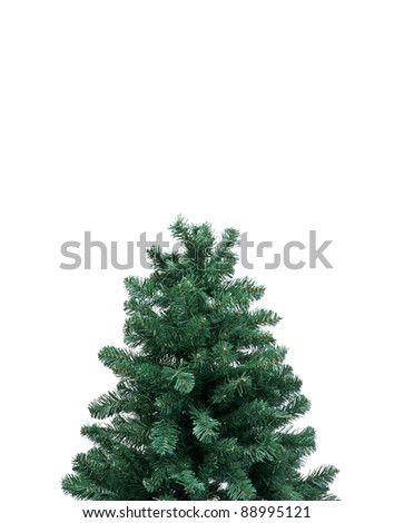 top of a christmas tree over white