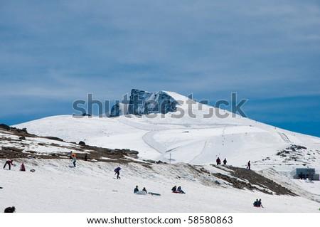 top of a mountain called Veleta in Sierra Nevada - stock photo