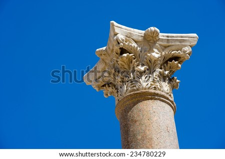 Top of a pillar in the amphitheater of Beit She'An in Galilee in Israel. - stock photo