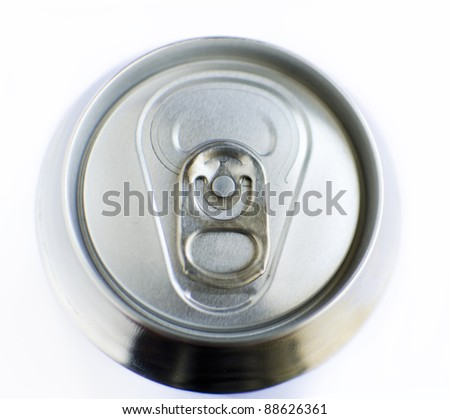 Top of a soda can on a white background