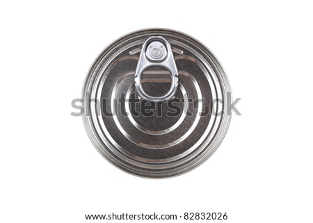 Top of a tin can with ring pull - stock photo