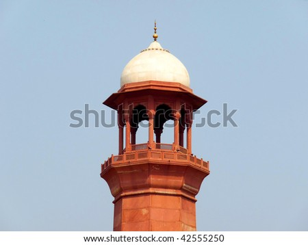Top of Badshahi Mosque's Minaret - One of the most famous landmarks and tourist destination of Pakistan built in 16th century is also one of the largest mosques in the world. - stock photo