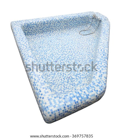 Top of blue tile mosaic pool and faucet on white background.