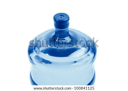 top of bottle with water for delivery, isolated on white - stock photo