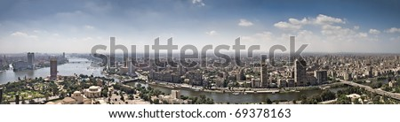 Top of Cairo City from tv tower, Panorama - Egypt - stock photo
