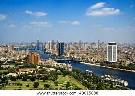 Top of Cairo from tv tower, Panorama - Egypt - stock photo
