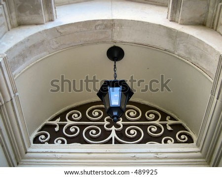 Top of doorway detail - stock photo