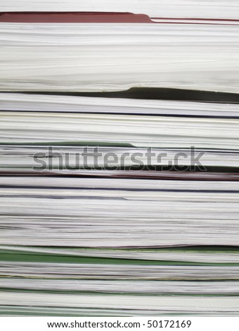 Top of file folders full of documents - stock photo