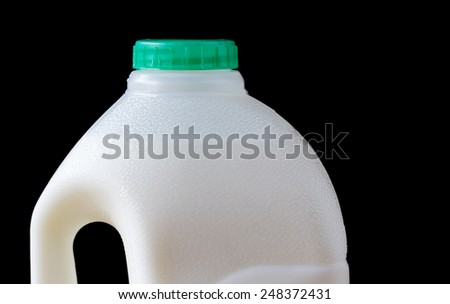 Top of full plastic milk bottle - stock photo