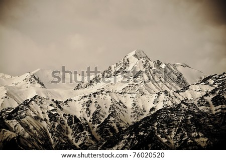 Top of High mountains, covered by snow. India. - stock photo