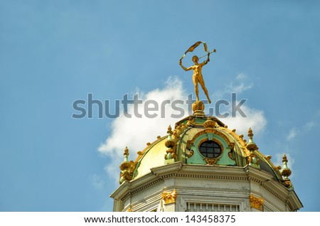 Top of lantern tower of historical building on Grand Place in Brussels, Belgium in clear day - stock photo