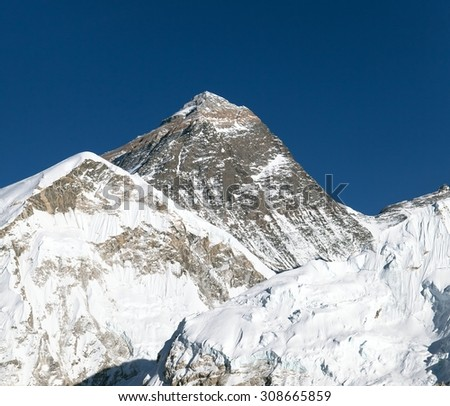 Top of Mount Everest from Kala Patthat, way to Everest base camp, Sagarmatha national park, Khumbu valley, Nepal - stock photo