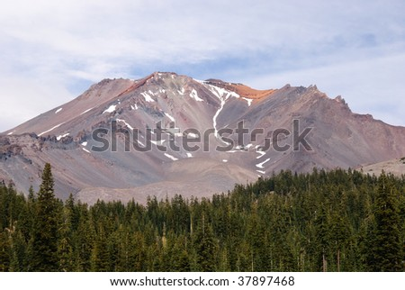Top of Mount Shasta featuring the Red Banks - stock photo