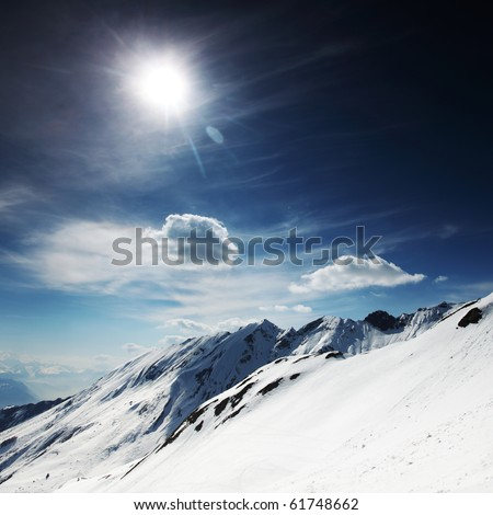 top of mountains - stock photo