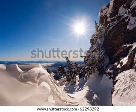 top of mountains in Siberia - stock photo