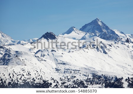 top of mountains sun - stock photo