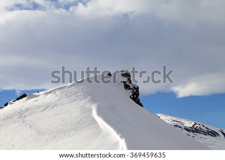 Top of mountains with snow cornice after snowfall. Greater Caucasus, Qusar rayon of Azerbaijan. - stock photo