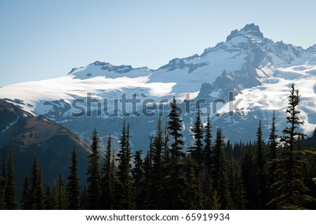 Top of Mt. Rainier in early fall at Sunrise point, Mount Rainier National Park - stock photo