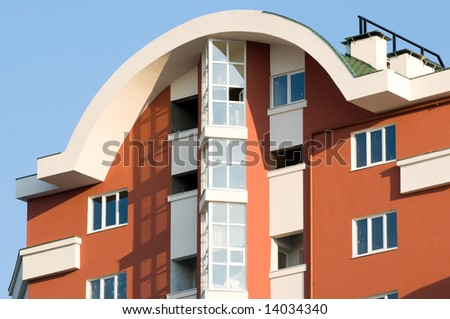 top of new almost finished luxury residence building - stock photo