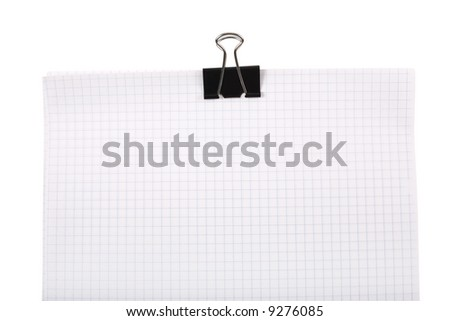 Top of notepad with paper-clip on white. Clipping path included. - stock photo