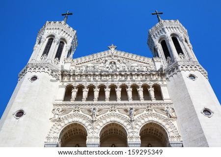 Top of Notre Dame de Fourviere in Lyon, Rhone Alps, France - stock photo