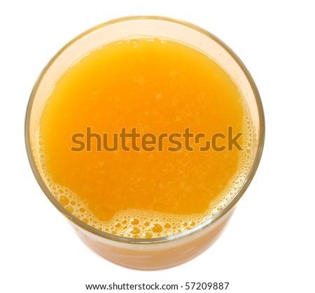 top of orange juice isolated on white background (close up) - stock photo