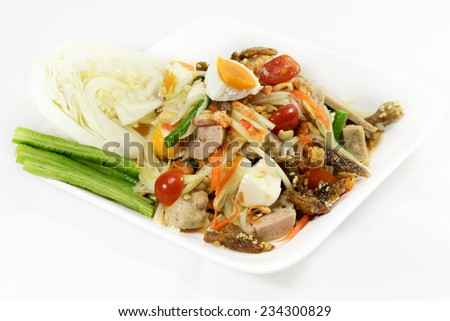Top of papaya salad with egg and fried meat thai food style