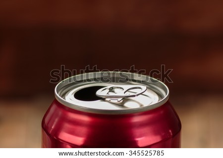 Top of red open soda can - stock photo