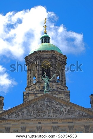 Top of Royal Palace in Dam Square, Amsterdam, Netherlands - stock photo