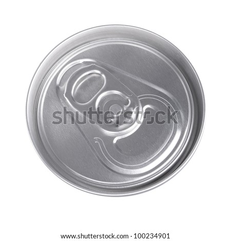 Top of silver drink can isolated on white - stock photo
