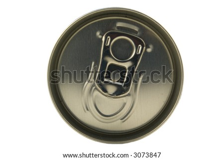 top of the beverage can isolated on white