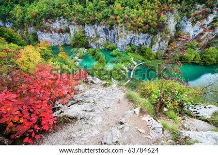 Top of the cliff view in the Plitvice Lakes National Park in Croatia. - stock photo