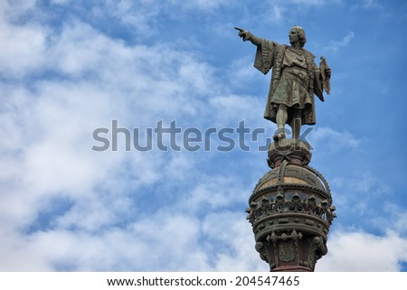 Top of the Columbus Monument (Mirador de Colom) in Barcelona, Catalonia, Spain. Bronze statue by Rafael Atche. - stock photo