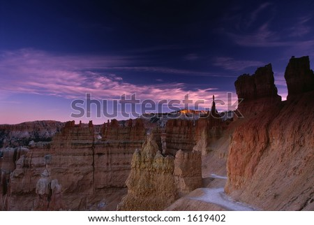 Top of the Hill Catches the Last Light of the Day in Bryce Canyon National Park