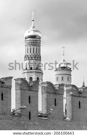 Top of the Ivan Great Bell Tower of the Moscow Kremlin, Russian Federation (black and white) - stock photo